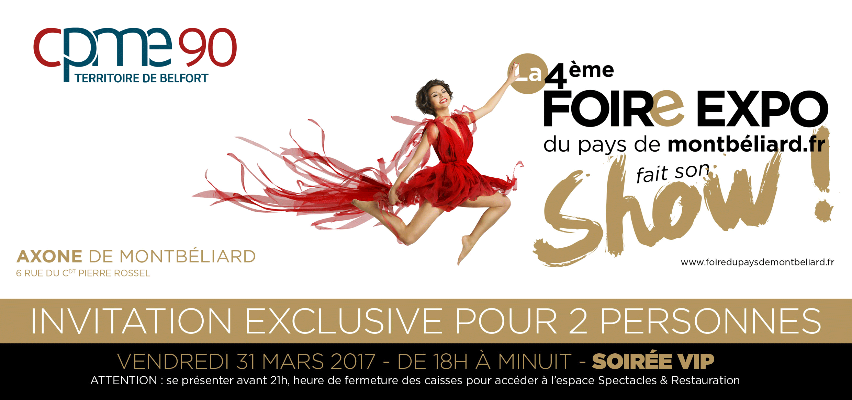 Invitation VIP CPME90 Foire Expo 2017 Pays de Montbéliard